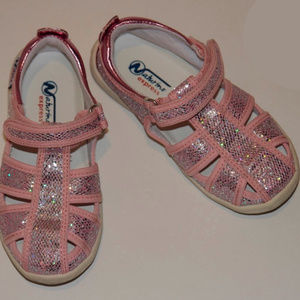 Naturino Pink Silver Glitter Canvas Sandals 9T